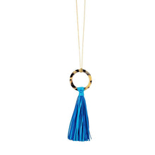 Load image into Gallery viewer, Front view of our Turquoise Blonde Tortoise Tassel Necklace
