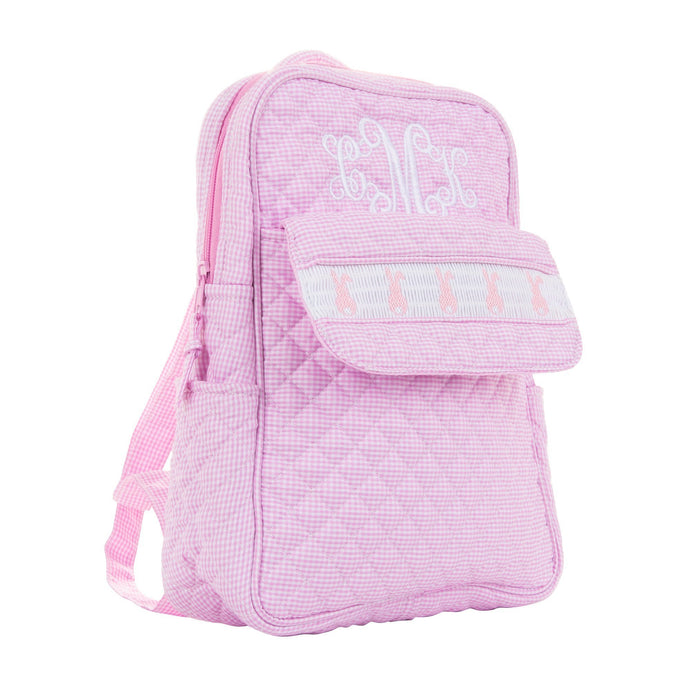 Monogrammed view of our Smocked Pink Bunny Backpack