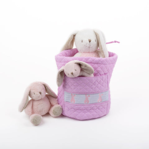 Lifestyle image of our Pink Bunny Smocked Ditty Bag