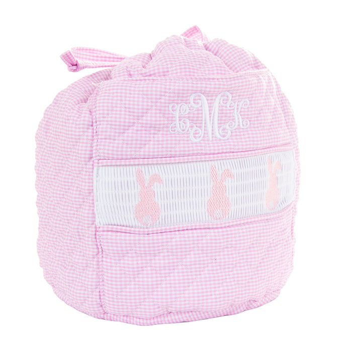 Monogrammed view of our Smocked Pink Bunny Ditty Bag