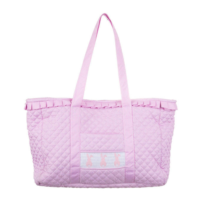 Front view of our Smocked Pink Bunny Tote Bag