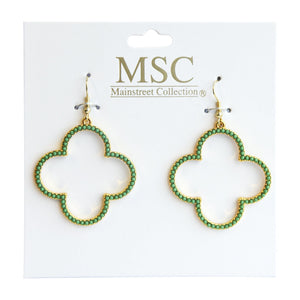 Top view of our Green Bead Clover Earrings
