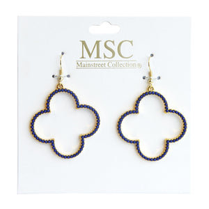 Top view of our Navy Bead Clover Earrings