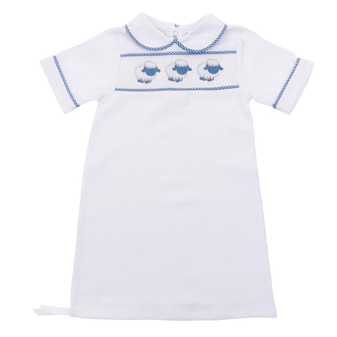 Blue Lamb Smocked Boy Day Gown