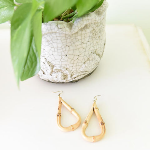 Lifestyle view of our Teardrop Bamboo Earrings