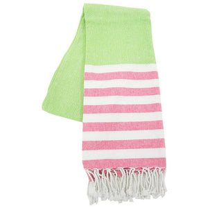 lime and green stripe beach towel