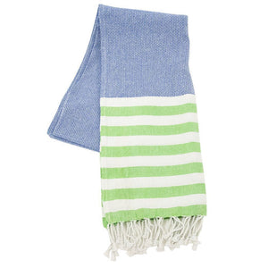navy and green stripe beach towel