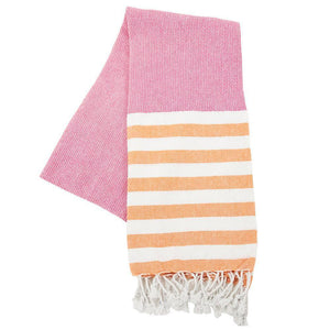 Pink and orange stripe beach towel