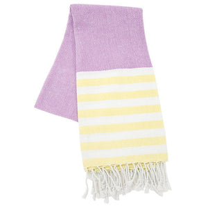 purple and yellow stripe beach towel