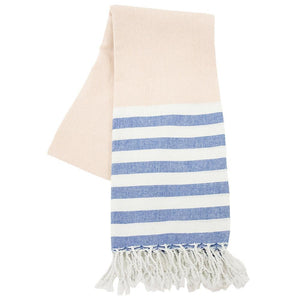Taupe and navy beach towel