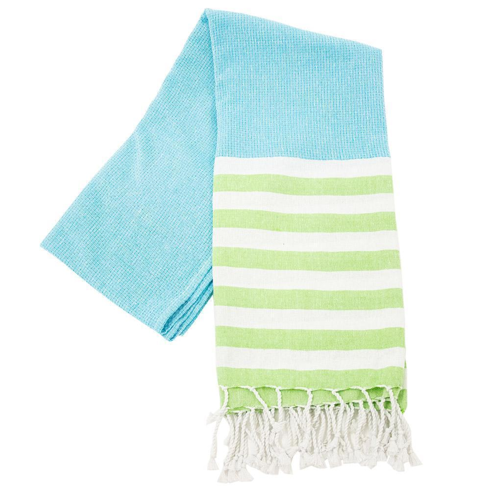 turquoise and lime stripe beach towel