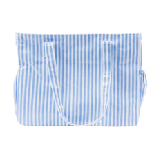 Load image into Gallery viewer, Front view of our Blue Stripe Vinyl Diaper Bag