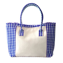 Load image into Gallery viewer, Blue gingham tote bag