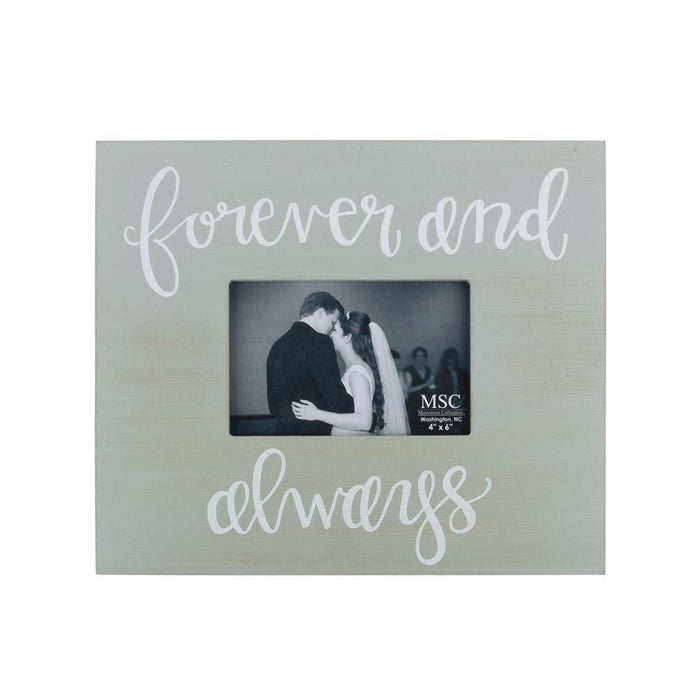 Gray box style frame with Forever and always hand lettered font