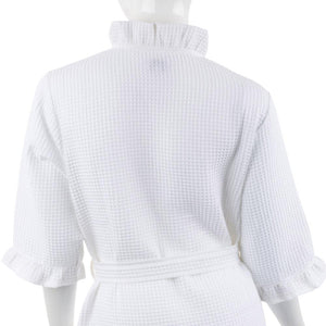 Back view of bridal waffle weave robe