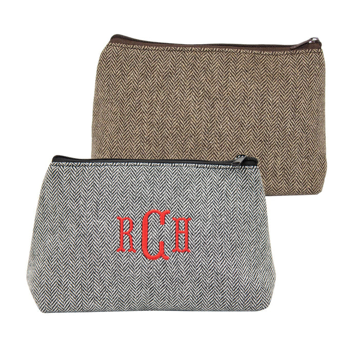 Monogrammed view of our Herringbone Cosmetic Pouch