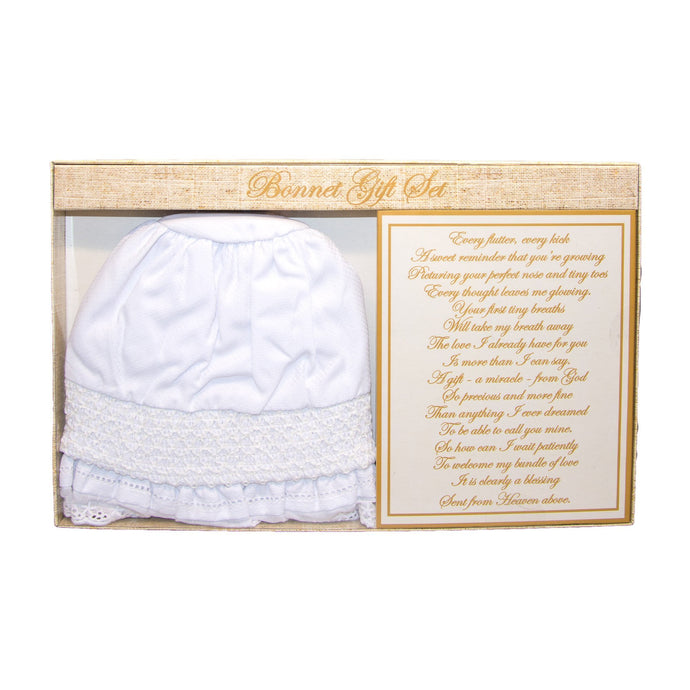 Front view of our Christening Baby Bonnet