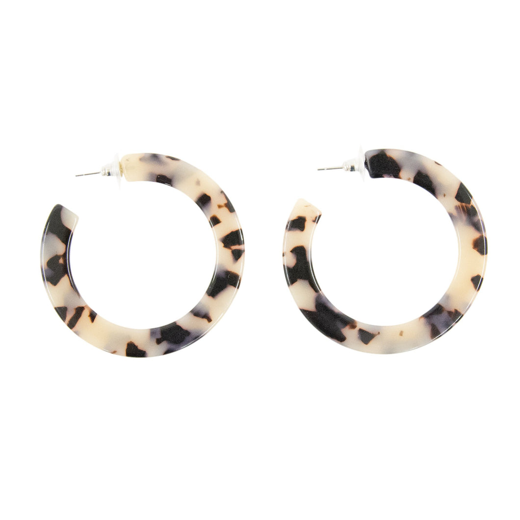 Front view of our Blonde Tortoise Large Chunky Hoops