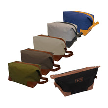 Monogrammed view of our Canvas Dopp Kits