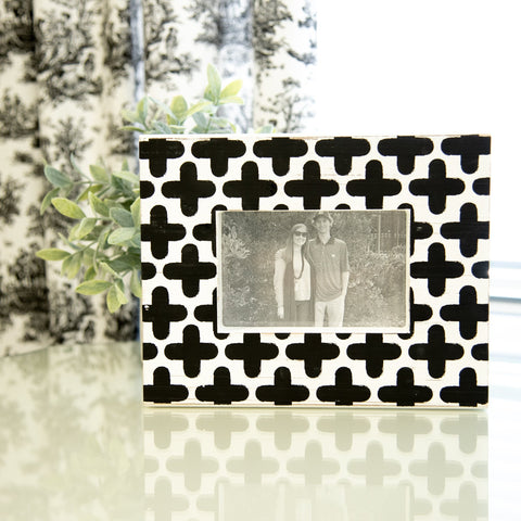 Lifestyle image of our Black and White Clover Picture Frame