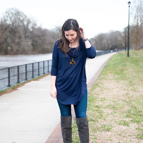 Lifestyle view of our Navy Cowl Neck Slouch Shirt
