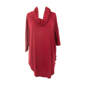 Front view of our Crimson Cowl Neck Slouch Shirt