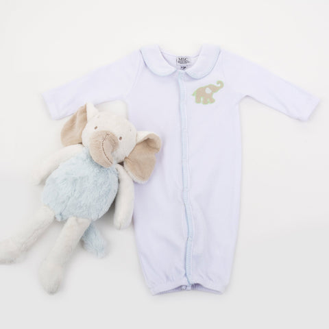 Lifestyle image of our Elephant Convertible Onesie
