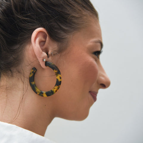 Lifestyle view of our Large Chunky Tortoise Hoops