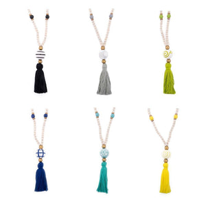 Collection of Ceramic Bead Tassel Necklace