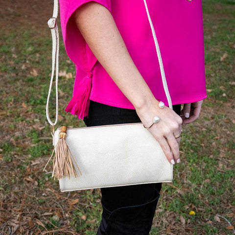 Lifestyle view of our Tan Bamboo Classy Crossbody