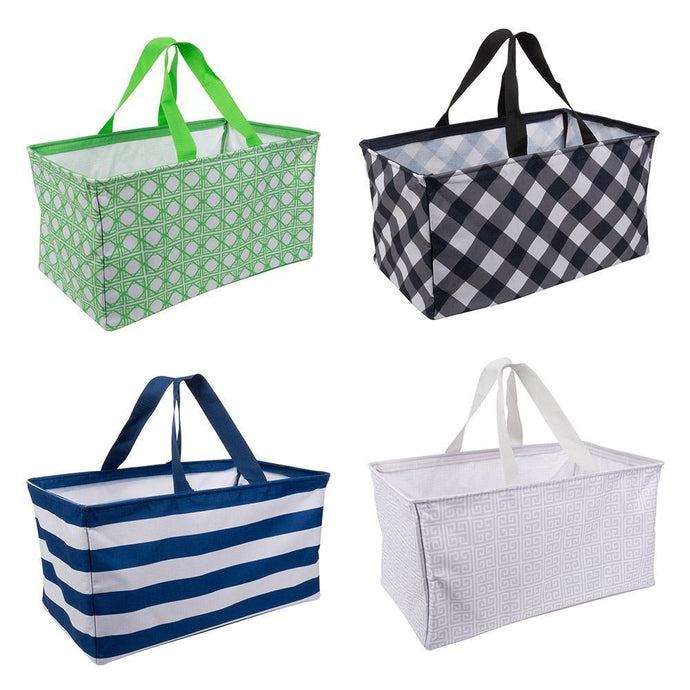 All four styles of Crunch Bins, green bamboo, black check, blue strip and taupe greek key