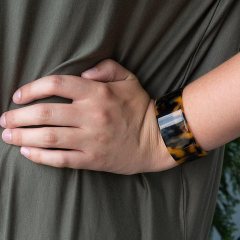 Tortoise Cuff Bracelet in Black and brown on a model