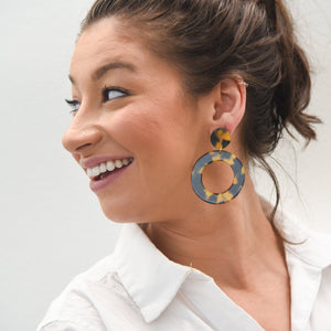 Lifestyle view of our Tortoise Circle Earrings