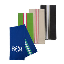 Monogrammed view of our Double Stripe Dishtowel