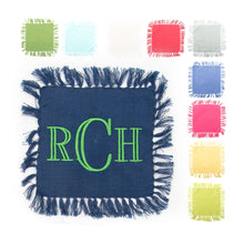 Load image into Gallery viewer, Monogrammed view of our Fringe Cocktail Napkins