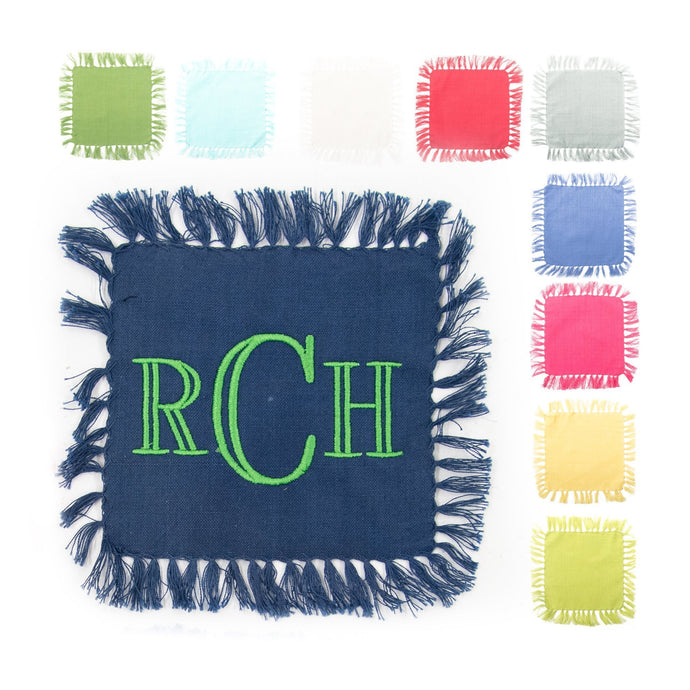 Monogrammed view of our Fringe Cocktail Napkins