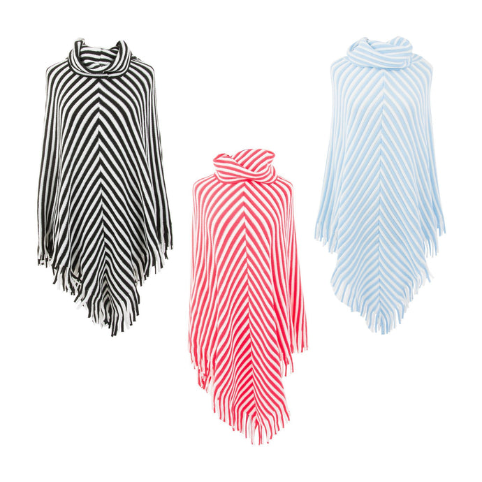 Front view of our Stripe Fringe Ponchos