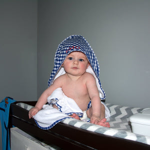 Lifestyle image of our Gingham Hooded Towel