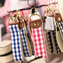 Lifestyle view of our Gingham Key Fobs
