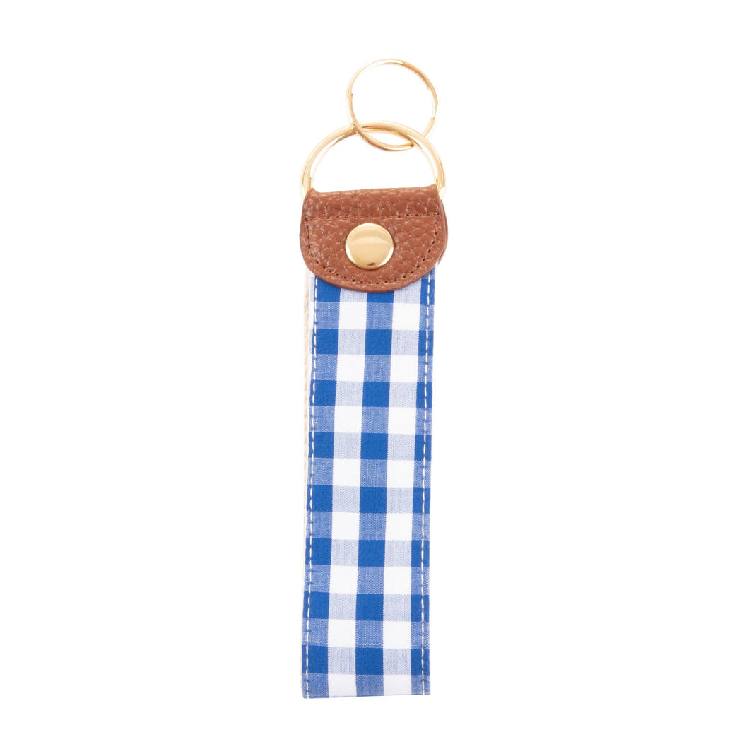 Front view of our Blue Gingham Key Fob