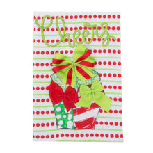 Load image into Gallery viewer, Front view of our Holiday Cheers Dot Present Guest Towel