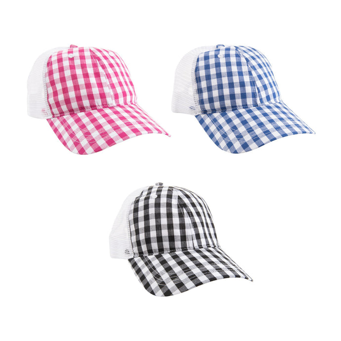 View of our Gingham Trucker Hats
