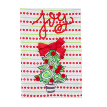 Load image into Gallery viewer, Front view of our Holiday Joy Bow Tree Guest Towel