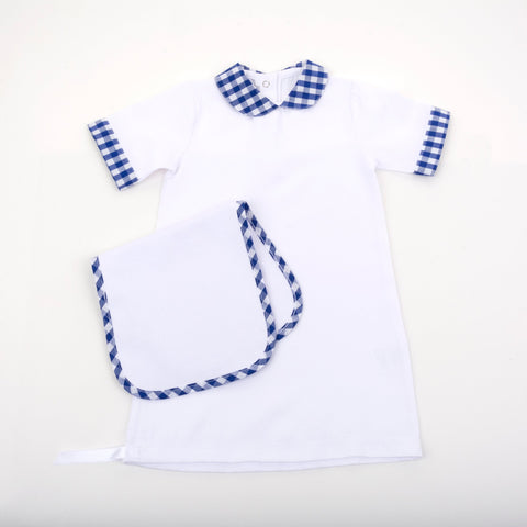 Lifestyle image of our Gingham Burp Cloth
