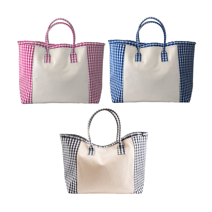 Weekender tote in pink, black and blue gingham