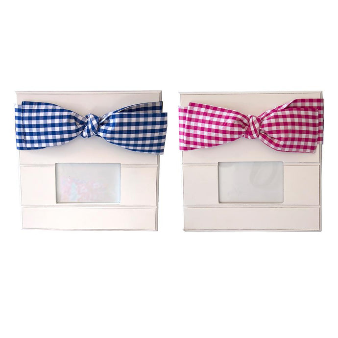 Blue and Pink Gingham Bow Photo Frames