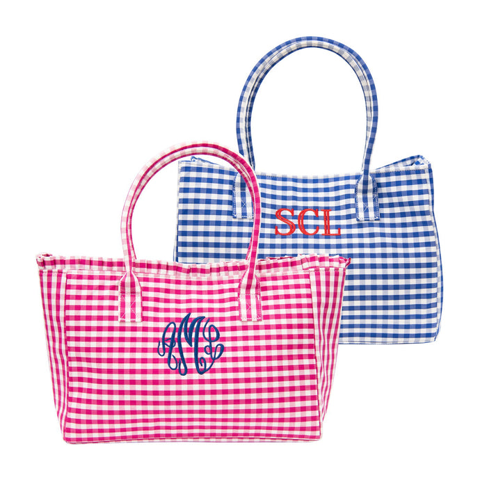 Monogrammed view of our Gingham Diaper Bags