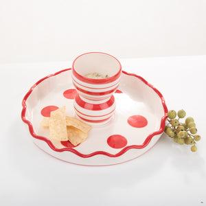 Holiday Red Dipped Chip & Dip Cake Stand