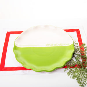 Holiday Green Dipped Round Platter