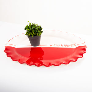 Holiday Red Dipped Oval Platter